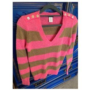 J.Crew xXs Neon Pink & Tan Sweater Striped L/S
